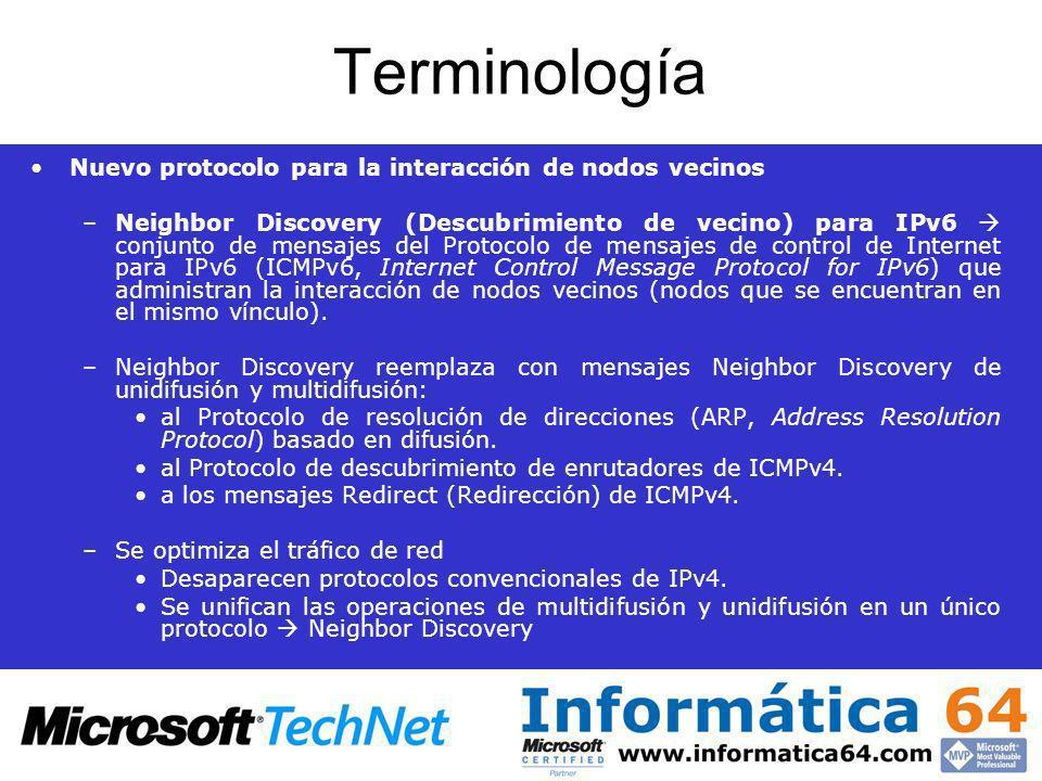 Terminología Nuevo protocolo para la interacción de nodos vecinos –Neighbor Discovery (Descubrimiento de vecino) para IPv6 conjunto de mensajes del Pr