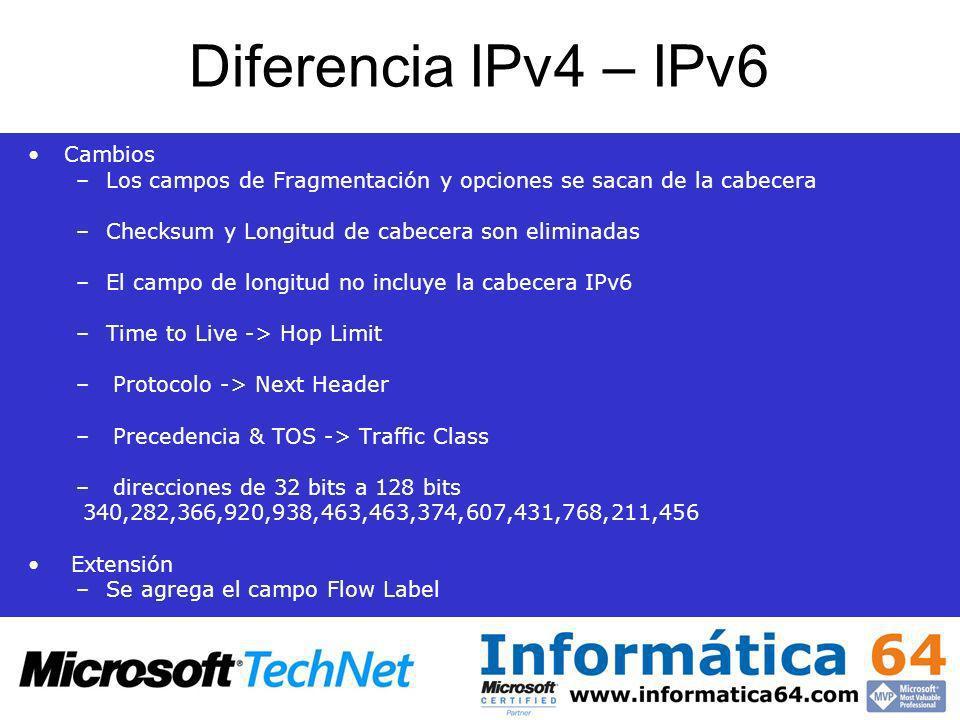 Diferencia IPv4 – IPv6 Cambios –Los campos de Fragmentación y opciones se sacan de la cabecera –Checksum y Longitud de cabecera son eliminadas –El cam