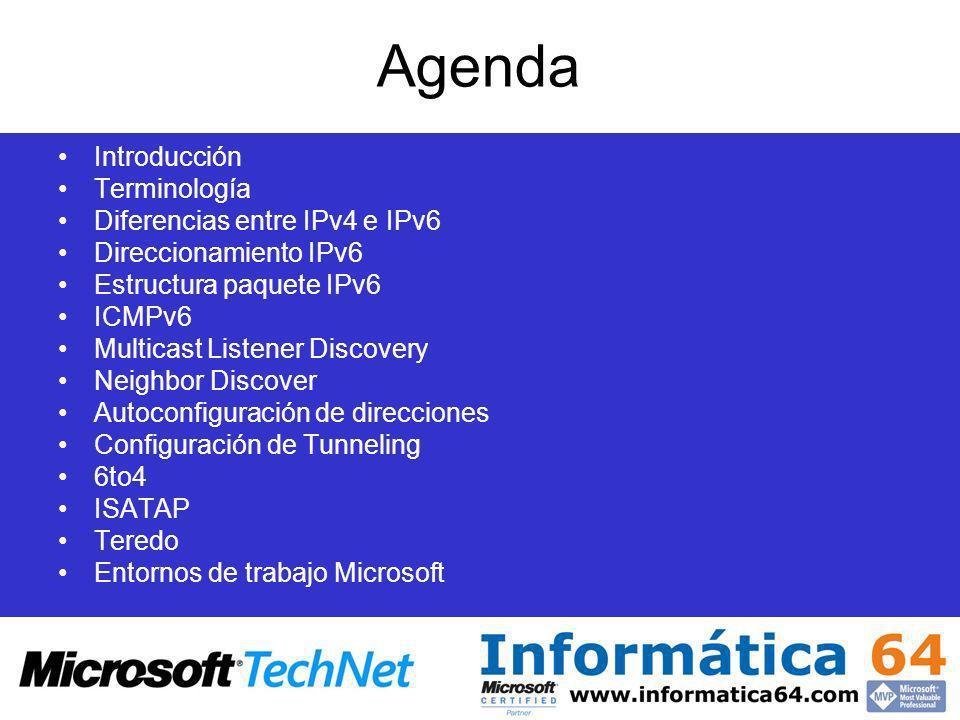 Agenda Introducción Terminología Diferencias entre IPv4 e IPv6 Direccionamiento IPv6 Estructura paquete IPv6 ICMPv6 Multicast Listener Discovery Neigh