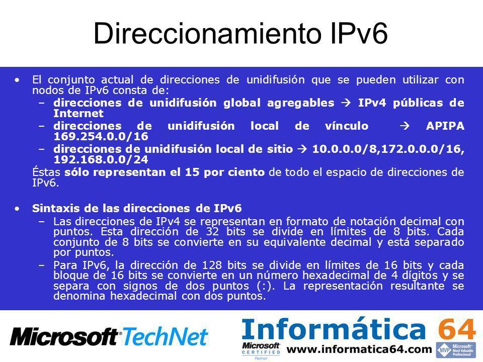 Direccionamiento IPv6 El conjunto actual de direcciones de unidifusión que se pueden utilizar con nodos de IPv6 consta de: –direcciones de unidifusión