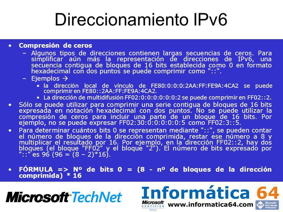 Direccionamiento IPv6 Compresión de ceros –Algunos tipos de direcciones contienen largas secuencias de ceros. Para simplificar aún más la representaci