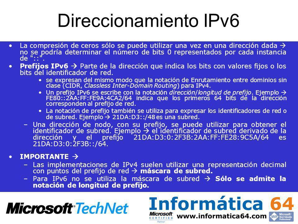 Direccionamiento IPv6 La compresión de ceros sólo se puede utilizar una vez en una dirección dada no se podría determinar el número de bits 0 represen