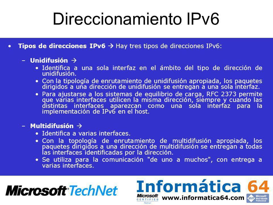 Direccionamiento IPv6 Tipos de direcciones IPv6 Hay tres tipos de direcciones IPv6: –Unidifusión Identifica a una sola interfaz en el ámbito del tipo