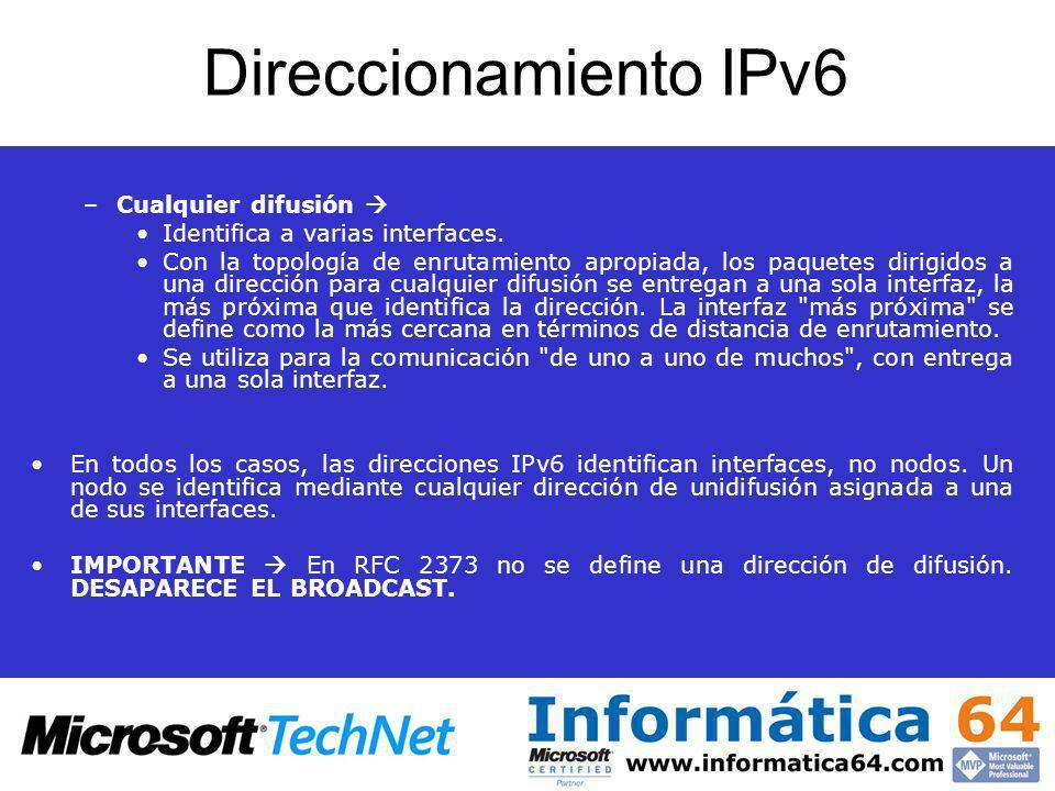Direccionamiento IPv6 –Cualquier difusión Identifica a varias interfaces. Con la topología de enrutamiento apropiada, los paquetes dirigidos a una dir