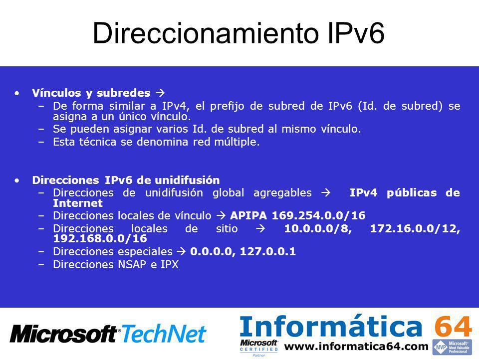 Direccionamiento IPv6 Vínculos y subredes –De forma similar a IPv4, el prefijo de subred de IPv6 (Id. de subred) se asigna a un único vínculo. –Se pue