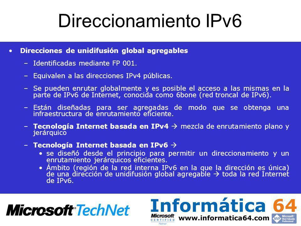 Direccionamiento IPv6 Direcciones de unidifusión global agregables –Identificadas mediante FP 001. –Equivalen a las direcciones IPv4 públicas. –Se pue