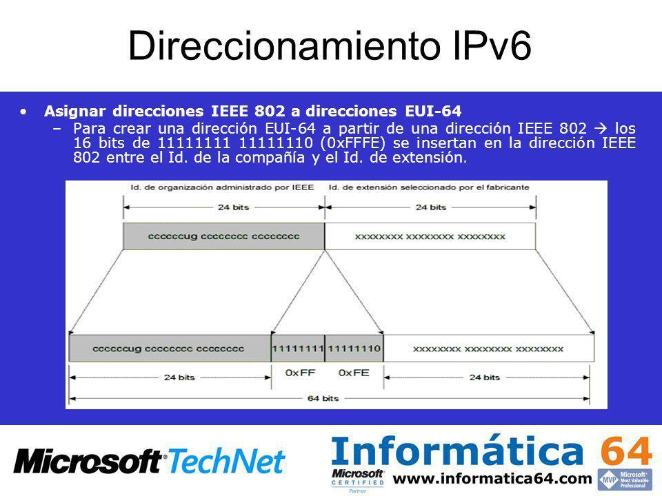 Direccionamiento IPv6 Asignar direcciones IEEE 802 a direcciones EUI-64 –Para crear una dirección EUI-64 a partir de una dirección IEEE 802 los 16 bit