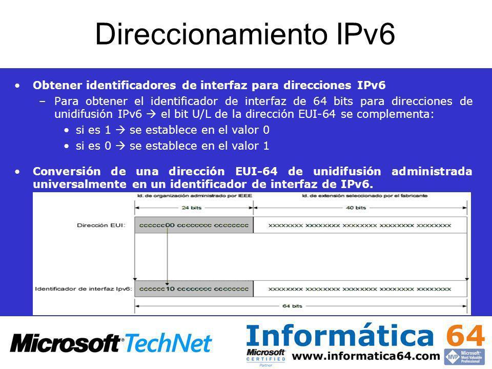 Direccionamiento IPv6 Obtener identificadores de interfaz para direcciones IPv6 –Para obtener el identificador de interfaz de 64 bits para direcciones