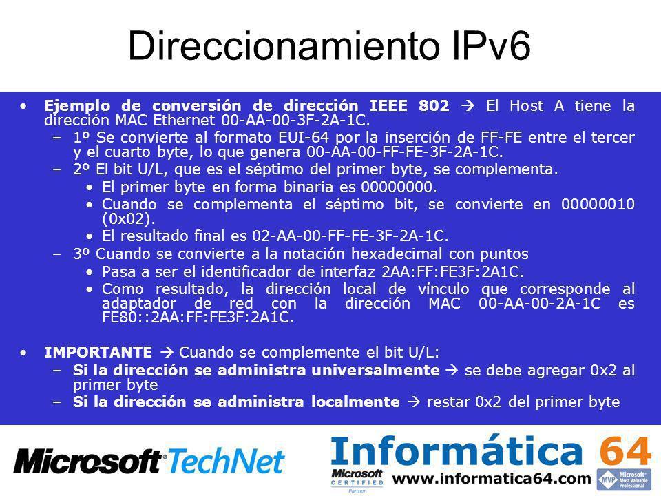 Direccionamiento IPv6 Ejemplo de conversión de dirección IEEE 802 El Host A tiene la dirección MAC Ethernet 00-AA-00-3F-2A-1C. –1º Se convierte al for