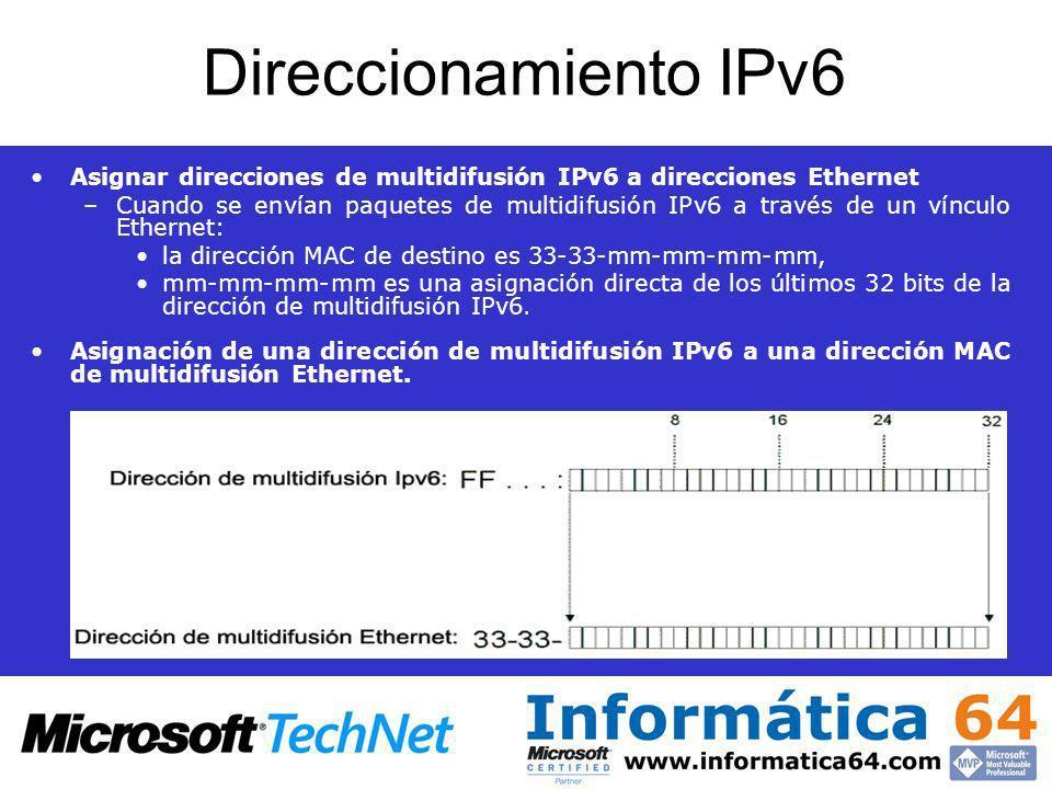 Direccionamiento IPv6 Asignar direcciones de multidifusión IPv6 a direcciones Ethernet –Cuando se envían paquetes de multidifusión IPv6 a través de un