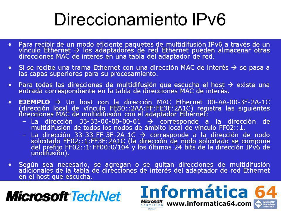 Direccionamiento IPv6 Para recibir de un modo eficiente paquetes de multidifusión IPv6 a través de un vínculo Ethernet los adaptadores de red Ethernet