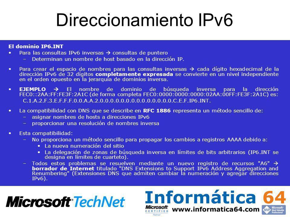 Direccionamiento IPv6 El dominio IP6.INT Para las consultas IPv6 inversas consultas de puntero –Determinan un nombre de host basado en la dirección IP