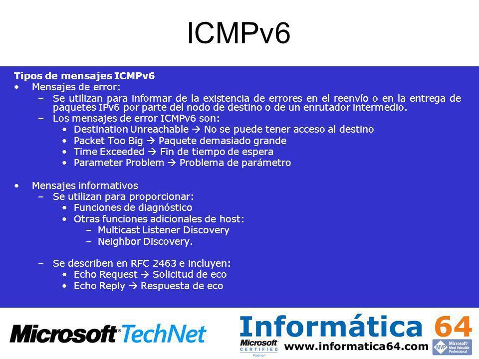 ICMPv6 Tipos de mensajes ICMPv6 Mensajes de error: –Se utilizan para informar de la existencia de errores en el reenvío o en la entrega de paquetes IP