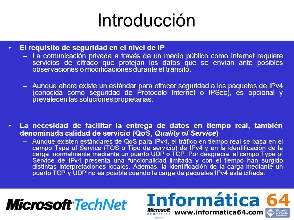 Introducción El requisito de seguridad en el nivel de IP –La comunicación privada a través de un medio público como Internet requiere servicios de cif
