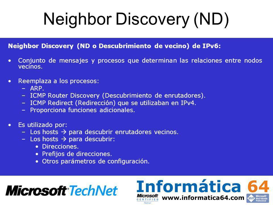 Neighbor Discovery (ND) Neighbor Discovery (ND o Descubrimiento de vecino) de IPv6: Conjunto de mensajes y procesos que determinan las relaciones entr