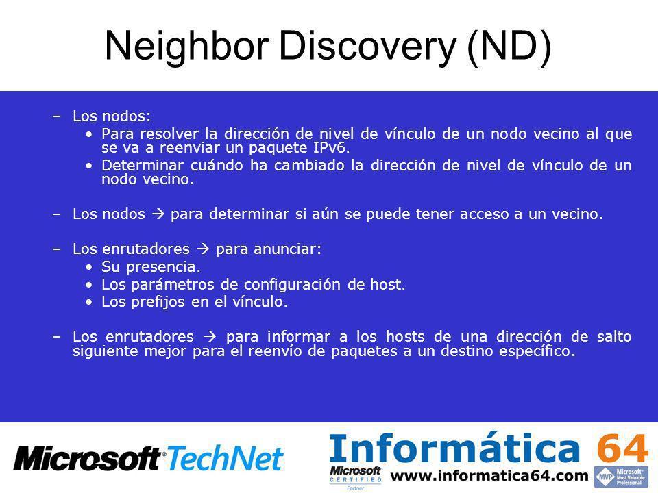 Neighbor Discovery (ND) –Los nodos: Para resolver la dirección de nivel de vínculo de un nodo vecino al que se va a reenviar un paquete IPv6. Determin