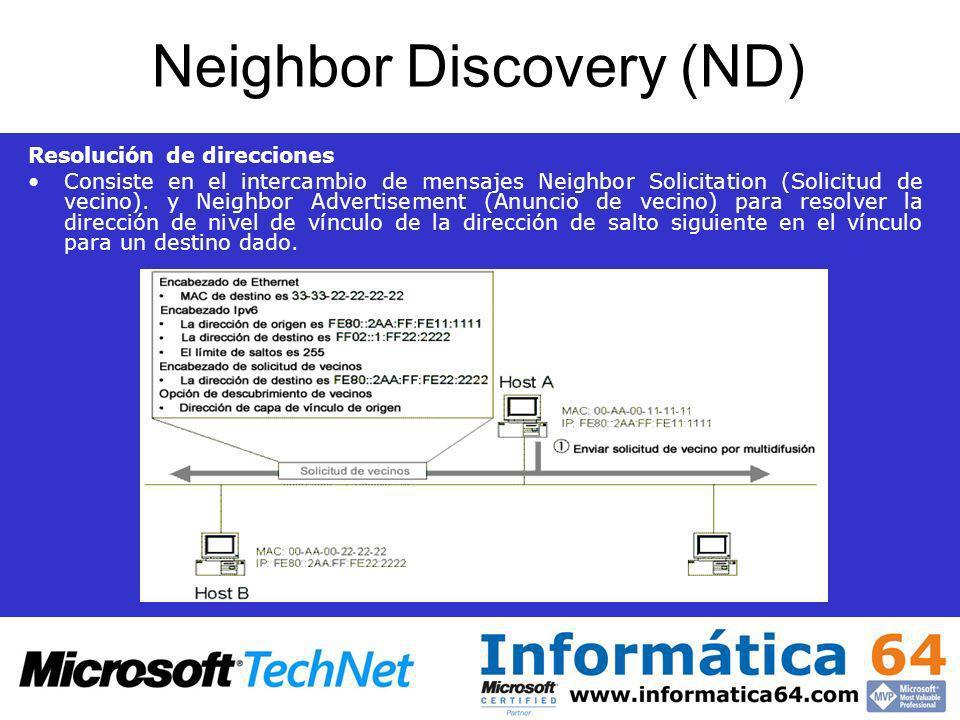 Neighbor Discovery (ND) Resolución de direcciones Consiste en el intercambio de mensajes Neighbor Solicitation (Solicitud de vecino). y Neighbor Adver