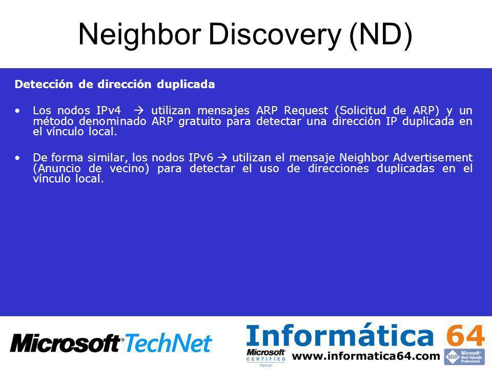 Neighbor Discovery (ND) Detección de dirección duplicada Los nodos IPv4 utilizan mensajes ARP Request (Solicitud de ARP) y un método denominado ARP gr