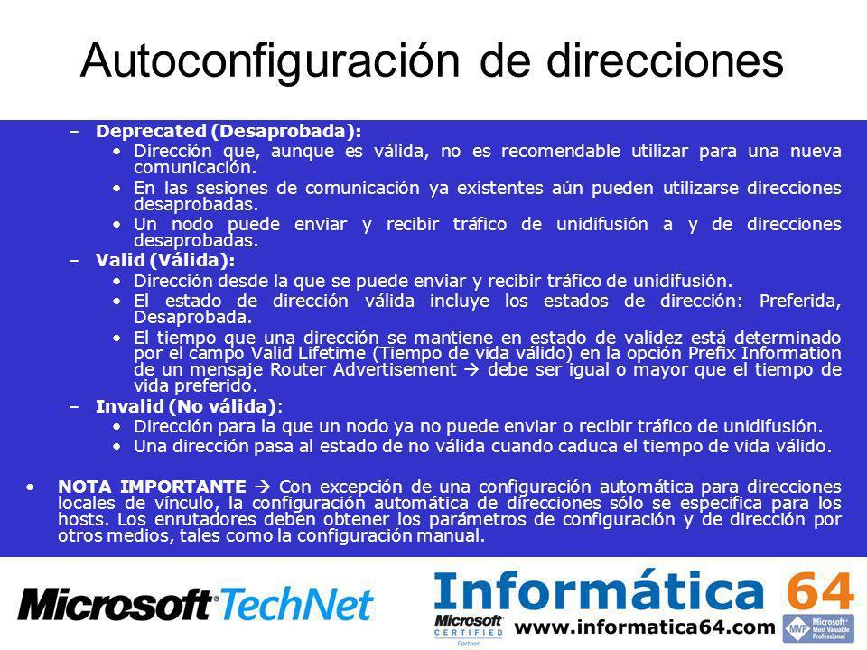 Autoconfiguración de direcciones –Deprecated (Desaprobada): Dirección que, aunque es válida, no es recomendable utilizar para una nueva comunicación.