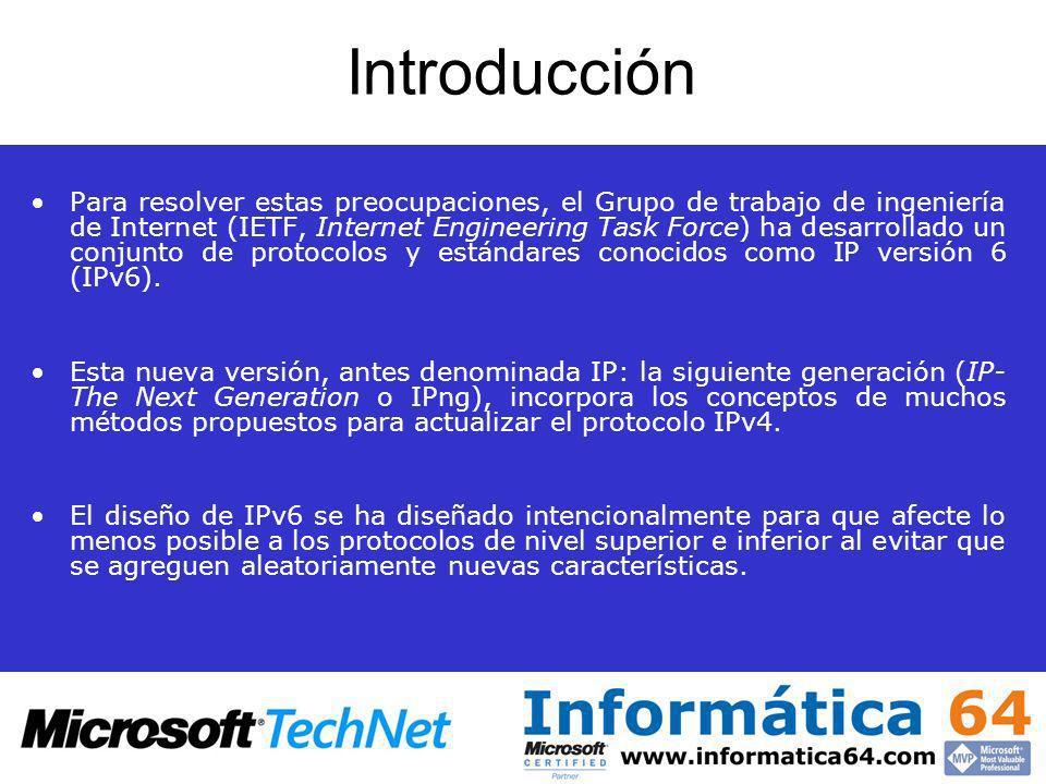 Direccionamiento IPv6 Asignar direcciones de multidifusión IPv6 a direcciones Ethernet –Cuando se envían paquetes de multidifusión IPv6 a través de un vínculo Ethernet: la dirección MAC de destino es 33-33-mm-mm-mm-mm, mm-mm-mm-mm es una asignación directa de los últimos 32 bits de la dirección de multidifusión IPv6.
