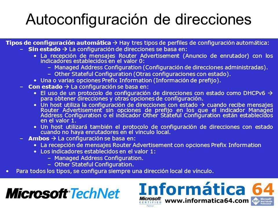 Autoconfiguración de direcciones Tipos de configuración automática Hay tres tipos de perfiles de configuración automática: –Sin estado La configuració