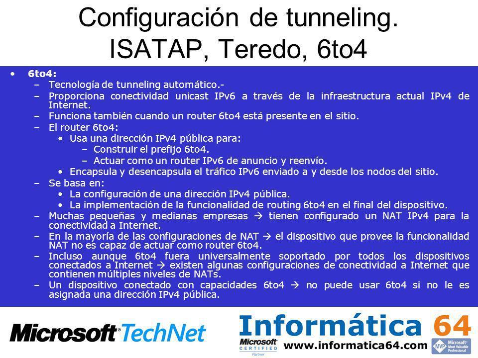 Configuración de tunneling. ISATAP, Teredo, 6to4 6to4: –Tecnología de tunneling automático.- –Proporciona conectividad unicast IPv6 a través de la inf