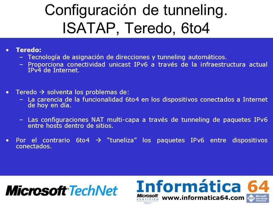 Configuración de tunneling. ISATAP, Teredo, 6to4 Teredo: –Tecnología de asignación de direcciones y tunneling automáticos. –Proporciona conectividad u