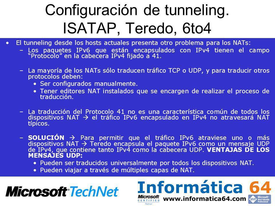 Configuración de tunneling. ISATAP, Teredo, 6to4 El tunneling desde los hosts actuales presenta otro problema para los NATs: –Los paquetes IPv6 que es