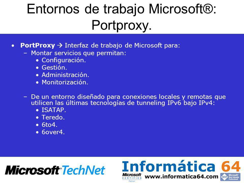 Entornos de trabajo Microsoft®: Portproxy. PortProxy Interfaz de trabajo de Microsoft para: –Montar servicios que permitan: Configuración. Gestión. Ad