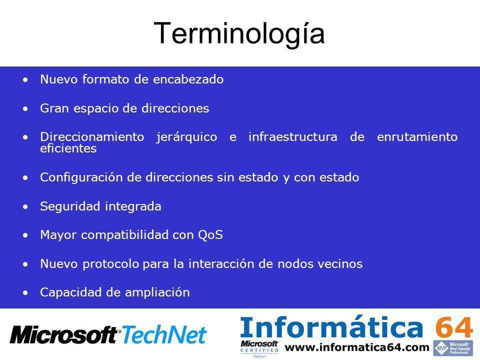 Terminología Nuevo formato de encabezado Gran espacio de direcciones Direccionamiento jerárquico e infraestructura de enrutamiento eficientes Configur