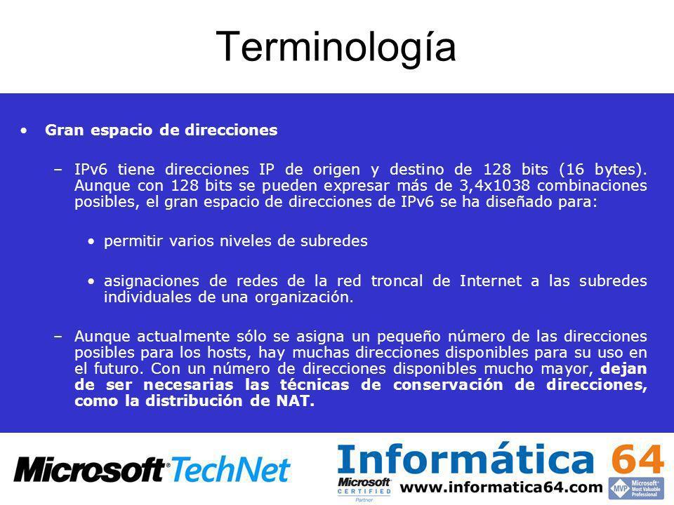 Terminología Gran espacio de direcciones –IPv6 tiene direcciones IP de origen y destino de 128 bits (16 bytes). Aunque con 128 bits se pueden expresar