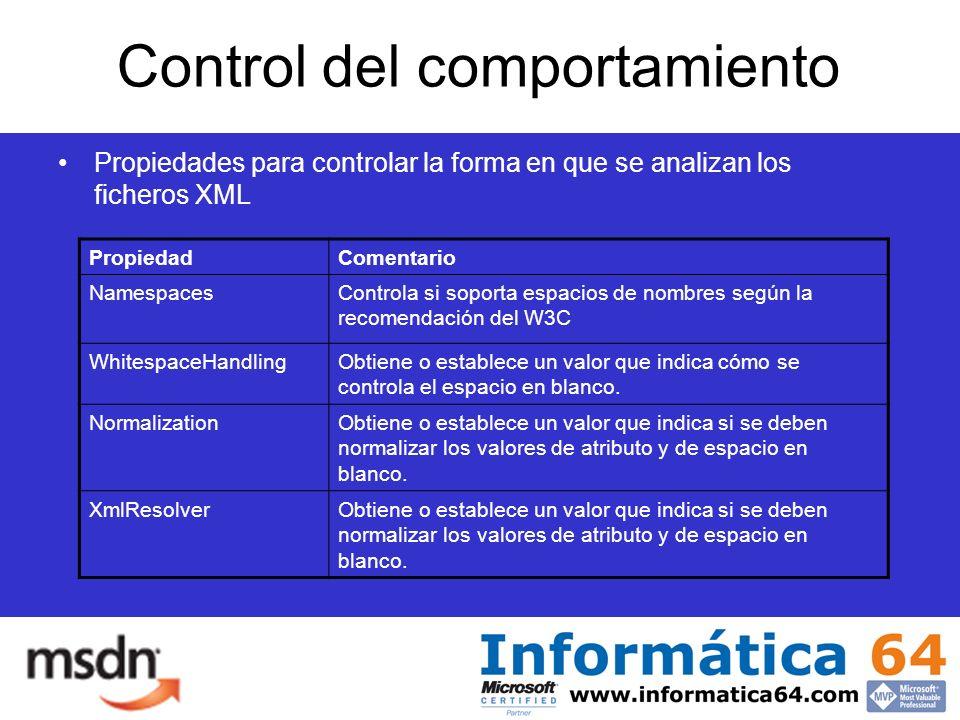 Control del comportamiento Propiedades para controlar la forma en que se analizan los ficheros XML PropiedadComentario NamespacesControla si soporta espacios de nombres según la recomendación del W3C WhitespaceHandlingObtiene o establece un valor que indica cómo se controla el espacio en blanco.