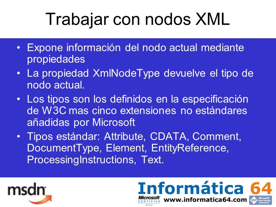 Trabajar con nodos XML Expone información del nodo actual mediante propiedades La propiedad XmlNodeType devuelve el tipo de nodo actual.