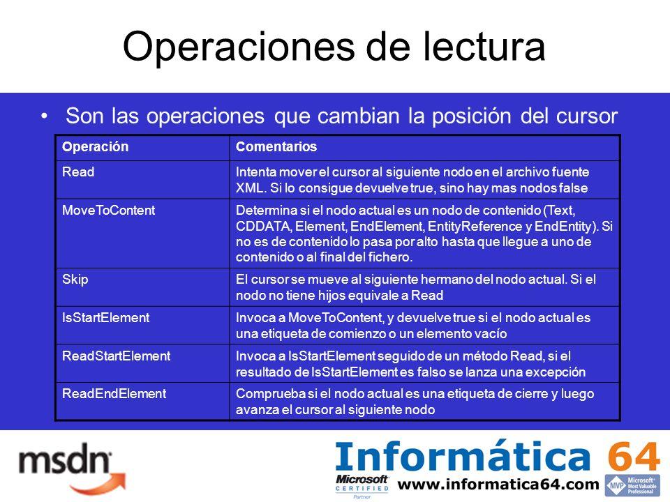 Operaciones de lectura Son las operaciones que cambian la posición del cursor OperaciónComentarios ReadIntenta mover el cursor al siguiente nodo en el archivo fuente XML.