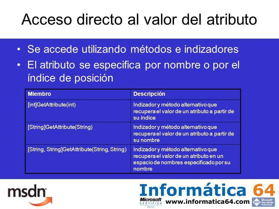 Acceso directo al valor del atributo Se accede utilizando métodos e indizadores El atributo se especifica por nombre o por el índice de posición MiembroDescripción [int]GetAttribute(int)Indizador y método alternativo que recupera el valor de un atributo a partir de su índice [String]GetAttribute(String)Indizador y método alternativo que recupera el valor de un atributo a partir de su nombre [String, String]GetAttribute(String, String)Indizador y método alternativo que recupera el valor de un atributo en un espacio de nombres especificado por su nombre