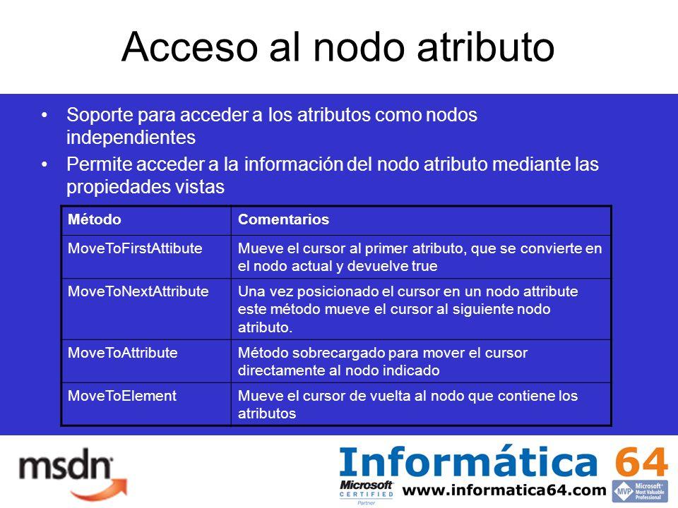 Acceso al nodo atributo Soporte para acceder a los atributos como nodos independientes Permite acceder a la información del nodo atributo mediante las propiedades vistas MétodoComentarios MoveToFirstAttibuteMueve el cursor al primer atributo, que se convierte en el nodo actual y devuelve true MoveToNextAttributeUna vez posicionado el cursor en un nodo attribute este método mueve el cursor al siguiente nodo atributo.