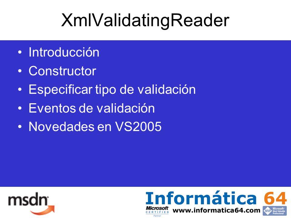 XmlValidatingReader Introducción Constructor Especificar tipo de validación Eventos de validación Novedades en VS2005