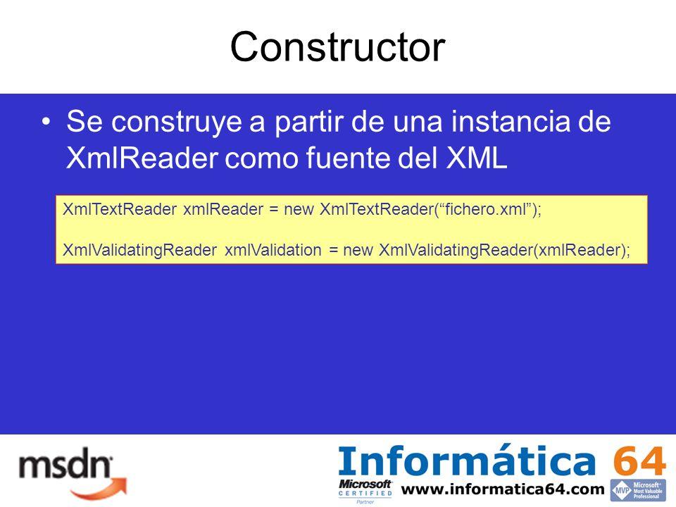 Constructor Se construye a partir de una instancia de XmlReader como fuente del XML XmlTextReader xmlReader = new XmlTextReader(fichero.xml); XmlValidatingReader xmlValidation = new XmlValidatingReader(xmlReader);