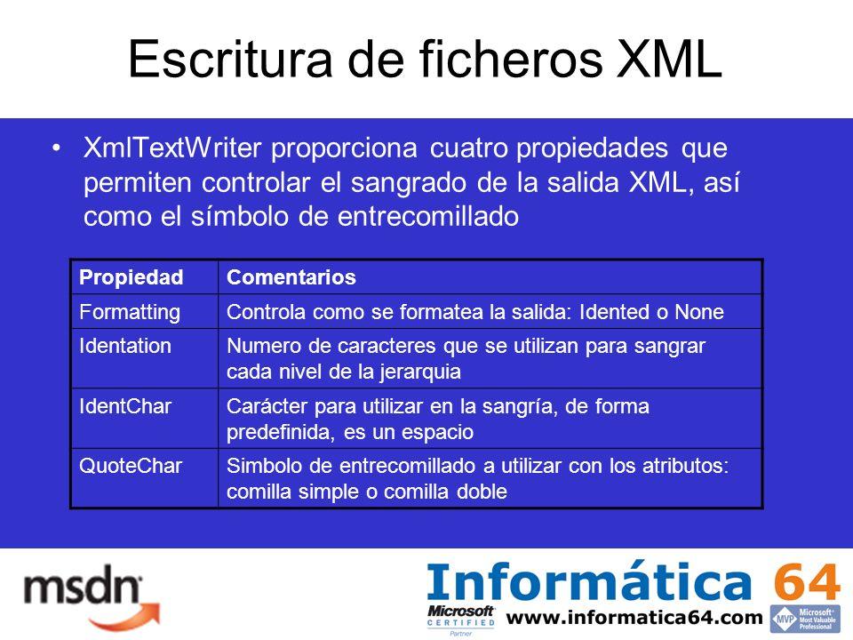 Escritura de ficheros XML XmlTextWriter proporciona cuatro propiedades que permiten controlar el sangrado de la salida XML, así como el símbolo de entrecomillado PropiedadComentarios FormattingControla como se formatea la salida: Idented o None IdentationNumero de caracteres que se utilizan para sangrar cada nivel de la jerarquia IdentCharCarácter para utilizar en la sangría, de forma predefinida, es un espacio QuoteCharSimbolo de entrecomillado a utilizar con los atributos: comilla simple o comilla doble