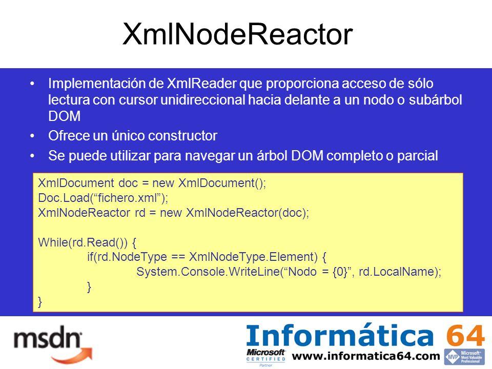 XmlNodeReactor Implementación de XmlReader que proporciona acceso de sólo lectura con cursor unidireccional hacia delante a un nodo o subárbol DOM Ofrece un único constructor Se puede utilizar para navegar un árbol DOM completo o parcial XmlDocument doc = new XmlDocument(); Doc.Load(fichero.xml); XmlNodeReactor rd = new XmlNodeReactor(doc); While(rd.Read()) { if(rd.NodeType == XmlNodeType.Element) { System.Console.WriteLine(Nodo = {0}, rd.LocalName); }