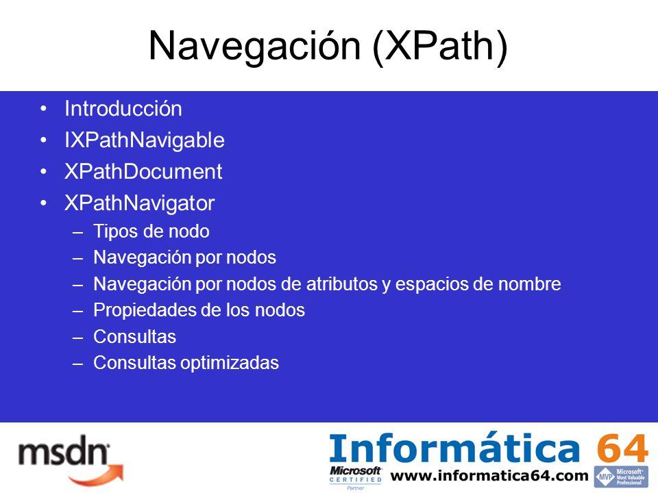 Navegación (XPath) Introducción IXPathNavigable XPathDocument XPathNavigator –Tipos de nodo –Navegación por nodos –Navegación por nodos de atributos y espacios de nombre –Propiedades de los nodos –Consultas –Consultas optimizadas