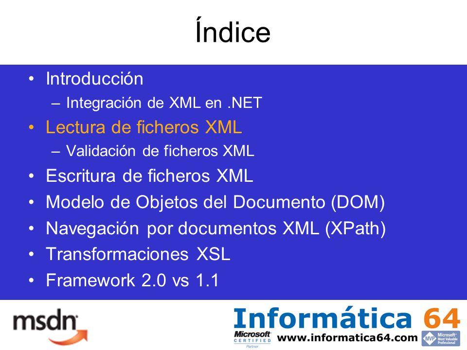 Índice Introducción –Integración de XML en.NET Lectura de ficheros XML –Validación de ficheros XML Escritura de ficheros XML Modelo de Objetos del Documento (DOM) Navegación por documentos XML (XPath) Transformaciones XSL Framework 2.0 vs 1.1