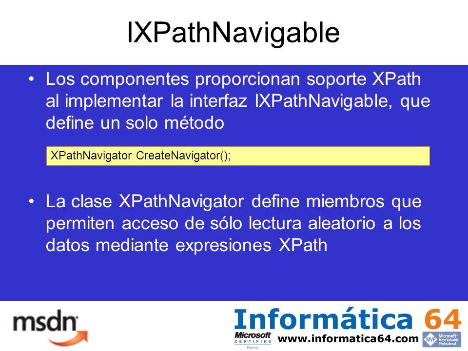 IXPathNavigable Los componentes proporcionan soporte XPath al implementar la interfaz IXPathNavigable, que define un solo método La clase XPathNavigator define miembros que permiten acceso de sólo lectura aleatorio a los datos mediante expresiones XPath XPathNavigator CreateNavigator();