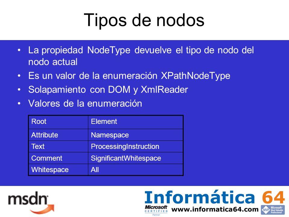 Tipos de nodos La propiedad NodeType devuelve el tipo de nodo del nodo actual Es un valor de la enumeración XPathNodeType Solapamiento con DOM y XmlReader Valores de la enumeración RootElement AttributeNamespace TextProcessingInstruction CommentSignificantWhitespace WhitespaceAll