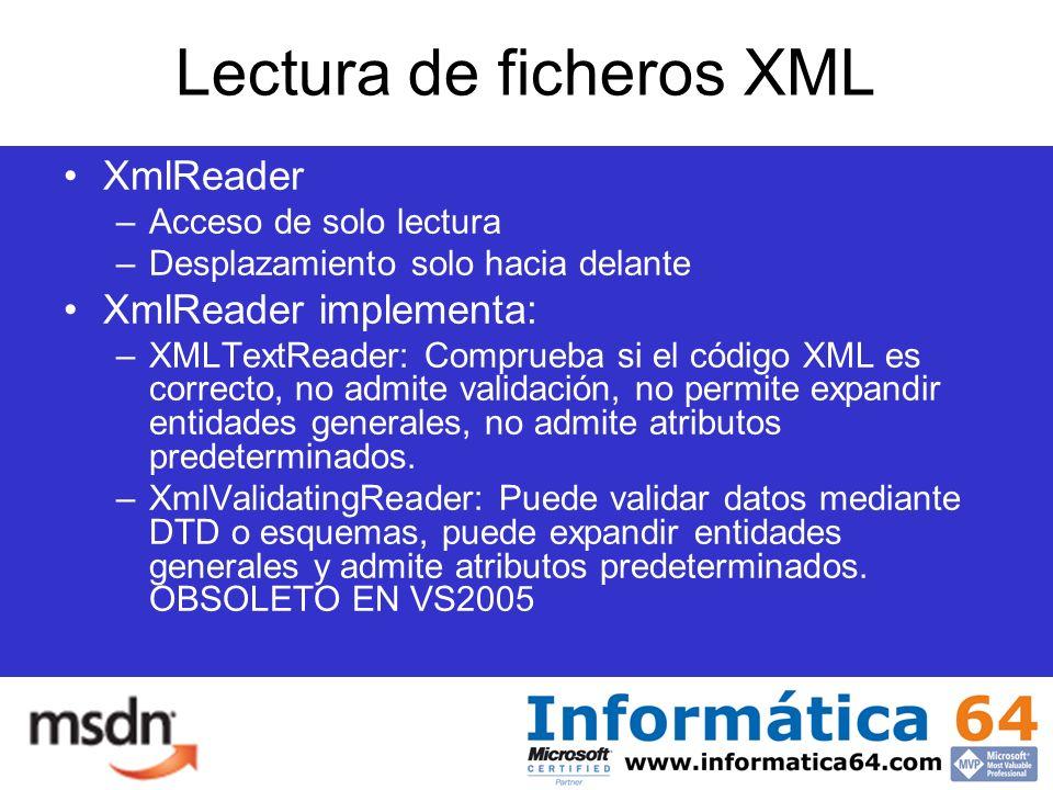 Lectura de ficheros XML XmlReader –Acceso de solo lectura –Desplazamiento solo hacia delante XmlReader implementa: –XMLTextReader: Comprueba si el código XML es correcto, no admite validación, no permite expandir entidades generales, no admite atributos predeterminados.