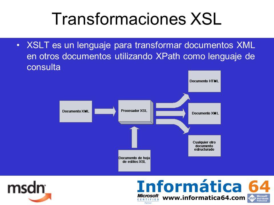 Transformaciones XSL XSLT es un lenguaje para transformar documentos XML en otros documentos utilizando XPath como lenguaje de consulta