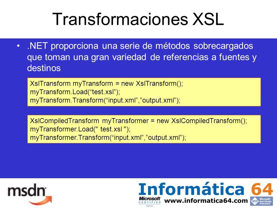 Transformaciones XSL.NET proporciona una serie de métodos sobrecargados que toman una gran variedad de referencias a fuentes y destinos XslTransform myTransform = new XslTransform(); myTransform.Load(test.xsl); myTransform.Transform(input.xml,output.xml); XslCompiledTransform myTransformer = new XslCompiledTransform(); myTransformer.Load( test.xsl ); myTransformer.Transform(input.xml,output.xml);