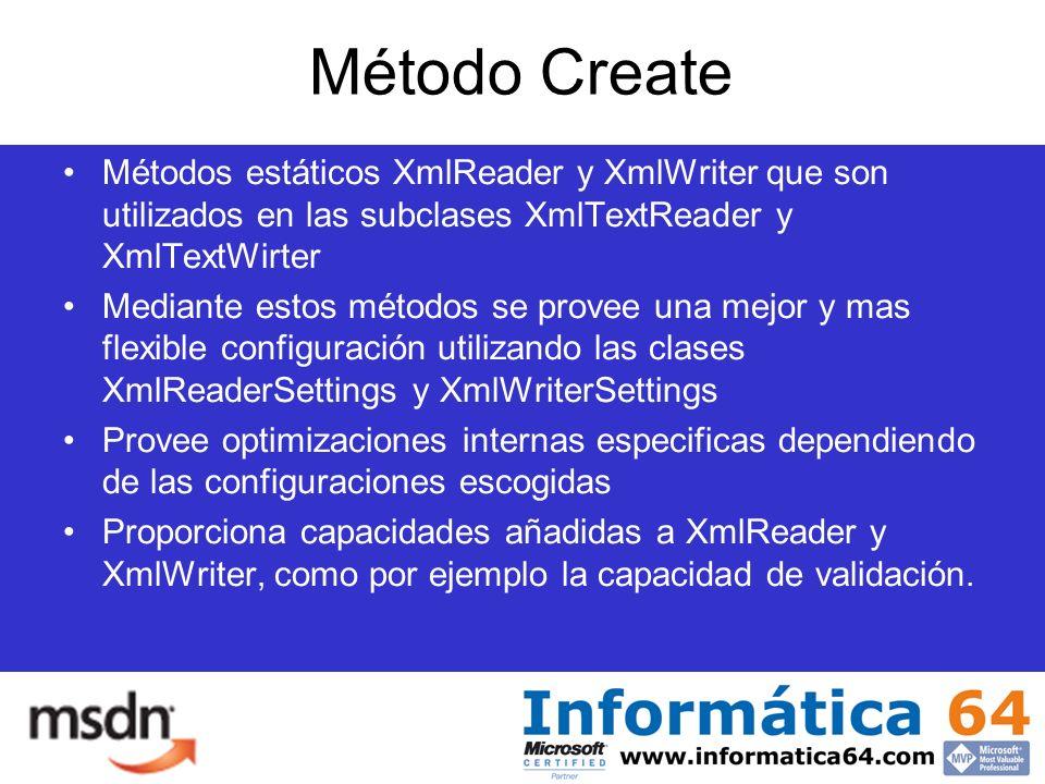 Método Create Métodos estáticos XmlReader y XmlWriter que son utilizados en las subclases XmlTextReader y XmlTextWirter Mediante estos métodos se provee una mejor y mas flexible configuración utilizando las clases XmlReaderSettings y XmlWriterSettings Provee optimizaciones internas especificas dependiendo de las configuraciones escogidas Proporciona capacidades añadidas a XmlReader y XmlWriter, como por ejemplo la capacidad de validación.