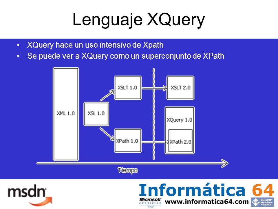 Lenguaje XQuery XQuery hace un uso intensivo de Xpath Se puede ver a XQuery como un superconjunto de XPath