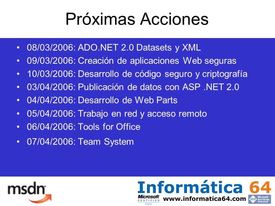 Próximas Acciones 08/03/2006: ADO.NET 2.0 Datasets y XML 09/03/2006: Creación de aplicaciones Web seguras 10/03/2006: Desarrollo de código seguro y criptografía 03/04/2006: Publicación de datos con ASP.NET 2.0 04/04/2006: Desarrollo de Web Parts 05/04/2006: Trabajo en red y acceso remoto 06/04/2006: Tools for Office 07/04/2006: Team System
